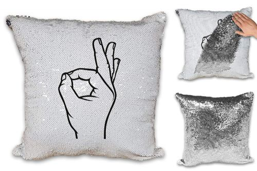 Ok Hand Symbol Funny Sequin Reveal Magic Cushion Cover